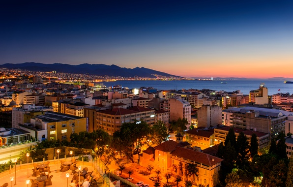 Picture sea, landscape, sunset, mountains, night, lights, coast, home, Turkey, Izmir