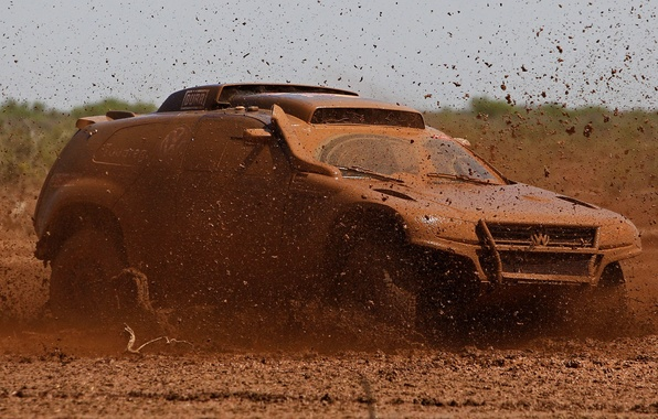 Picture Auto, Sport, Volkswagen, Machine, Race, Dirt, Swamp, Squirt, Touareg, Rally, SUV, Rally, The buzz, Dirty