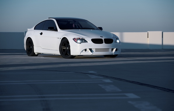 Picture white, bmw, BMW, white, e63, black rims