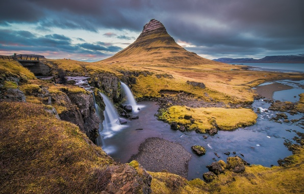 Picture sea, the sky, clouds, bridge, river, mountain, waterfall, Iceland, Kirkjufell