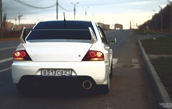 Picture road, machine, auto, Mitsubishi, Lancer, Evo, Chuvash Republic