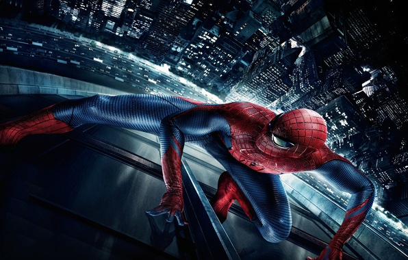 Picture night, the city, spider, new York, The Amazing Spider-Man, New spider-Man