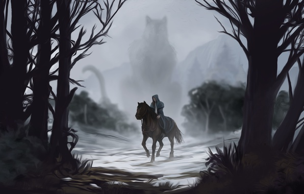 Picture look, water, trees, fog, horse, art, tail, silhouette. being