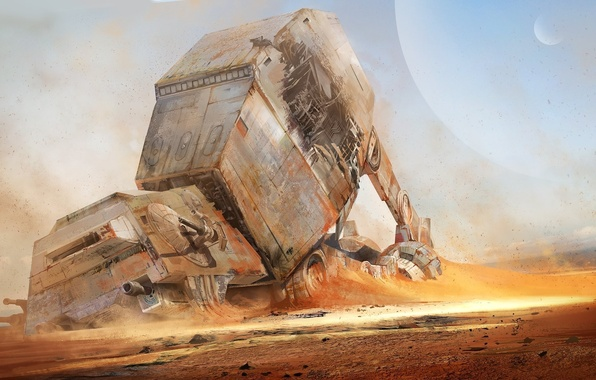 Picture desert, planet, robot, Star Wars, the ruins, Star Wars