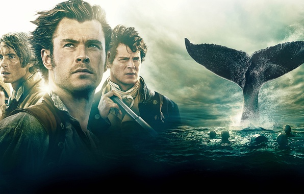 Photo wallpaper sea, kit, adventure, poster, drama, sailors, Cillian Murphy, Cillian Murphy, fin, Chris Hemsworth, Chris Hemsworth, ...