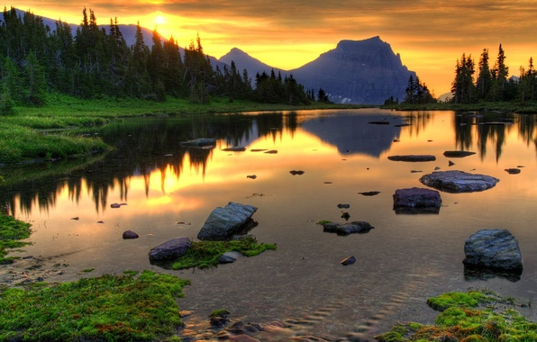 Picture forest, sunset, lake, stones, mountain
