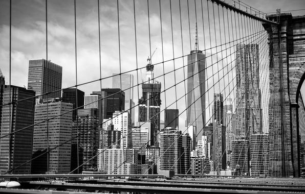 Picture building, black and white, Brooklyn, Manhattan, New York City, Brooklyn Bridge