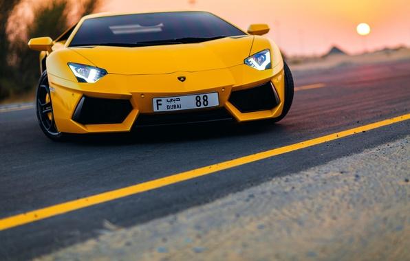 Picture road, Lamborghini, dubai, Aventador, aventador