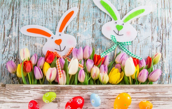 Picture flowers, eggs, colorful, Easter, tulips, tulips, spring, Easter, eggs