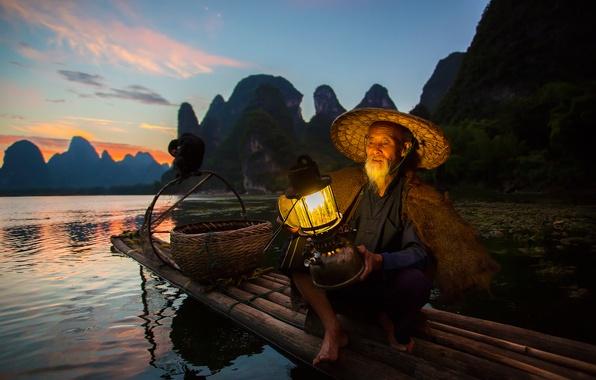Picture bird, boat, fisherman, lantern, China, cormorant, district Guangxi Joins, the river Li