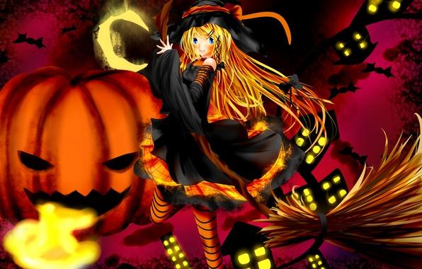 Picture girl, lights, home, a month, anime, art, pumpkin, witch, broom, bats, Halloween, bow, kitamuraeri