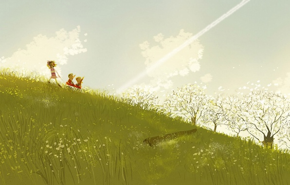 Picture grass, clouds, joy, children, the wind, slope