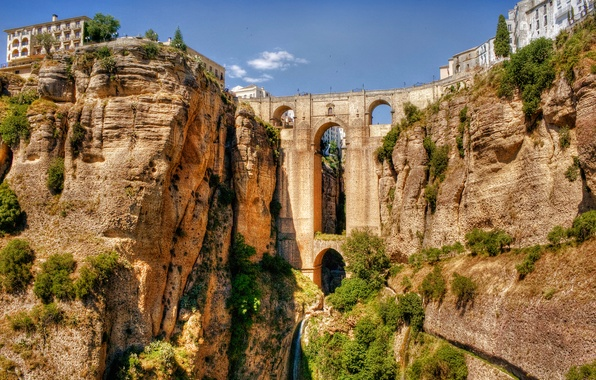 Picture the sky, bridge, rock, river, home, arch, Spain, the bushes, aqueduct, Andalusia, Ronda