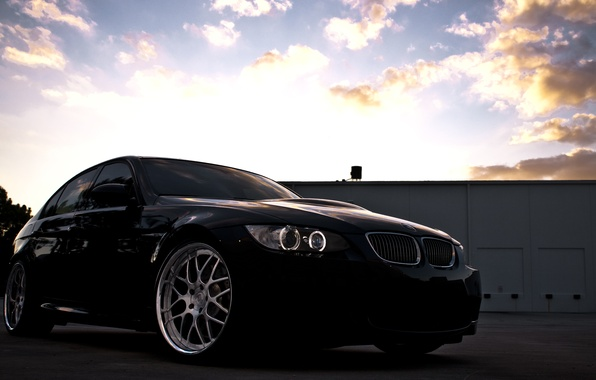 Picture the sky, clouds, sunset, black, BMW, BMW, black, Sedan, E90