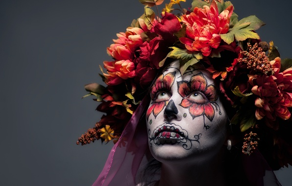 Photo Wallpaper Girl Flowers Face Paint Day Of The Dead
