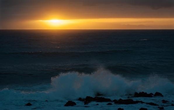 Picture sea, wave, the sun, sunset, stones
