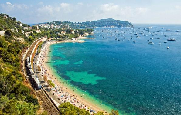 Picture beach, coast, France, yachts, train, panorama, railroad, France, Cote d'azur, French Riviera, The Mediterranean sea, …