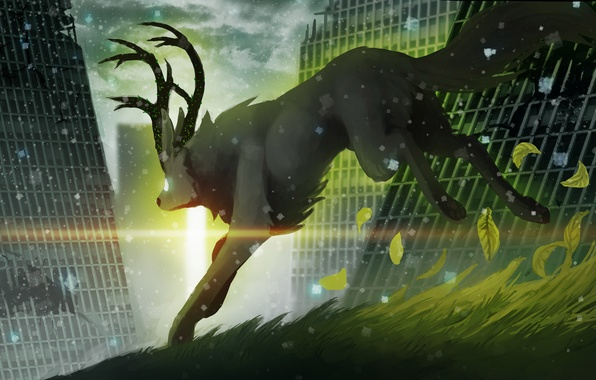 Picture grass, leaves, snow, animal, building, art, horns, ruins, romance of the Apocalypse, romantically apocalyptic, sunlight, …