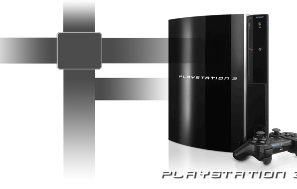 Picture white, black, background, PS3, playstation 3, joystick, console