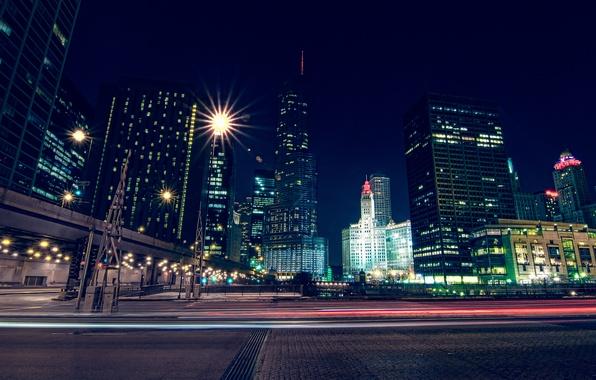Picture the sky, night, lights, building, skyscrapers, USA, America, Chicago, Chicago, USA, skyscrapers, illinois, Michigan