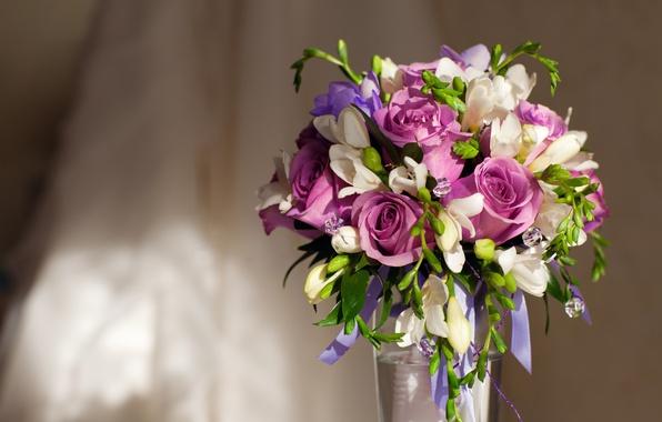 Picture roses, bouquet, vase, vase, roses, Bouquet, Violet Flowers, Purple flowers