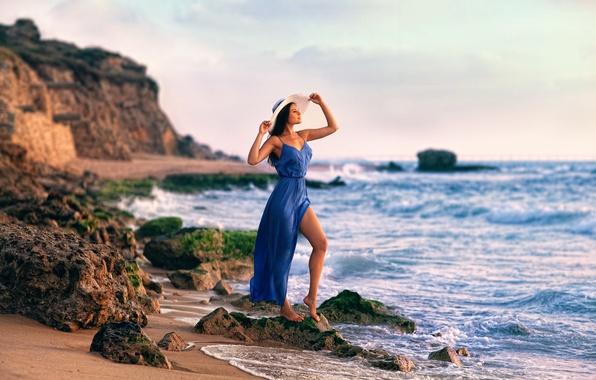 Picture girl, shore, dress, surf, hat, leg, Lashon Rise, Maris