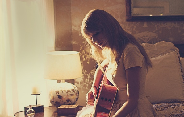 Picture room, lamp, guitar, dress, hairstyle, photographer, album, singer, Red, Taylor Swift, sitting, on the bed, …