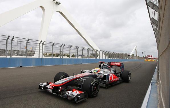 Picture bridge, track, formula 1, pilot, Spain, formula 1, racer, 2011, formula one, mclaren, Lewis Hamilton, …