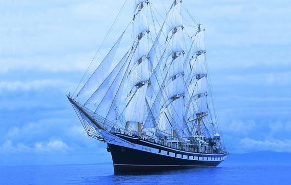 Picture blue, Sea, Ship, Sailboat, Pallada