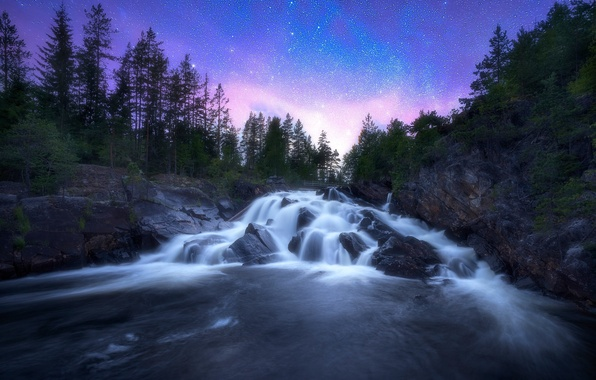 Picture trees, river, stones, waterfall, Norway, cascade, Norway, starry sky, RINGERIKE, Ringerike