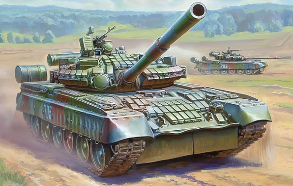 Picture tank, gun, combat, installation, Russian, main, has, 125 mm, launcher, Contact, T-80BV, protection, 1 and …