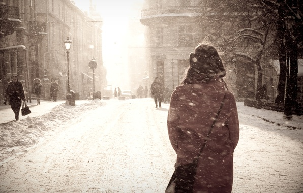 Picture winter, girl, snow, the city, Blizzard