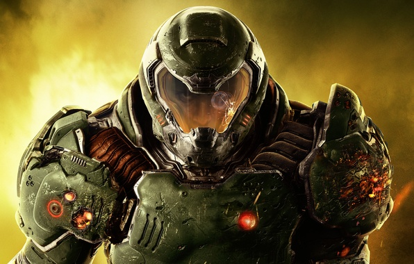 Picture look, face, soldiers, armor, Marine, wounds, Bethesda, DooM, id Software
