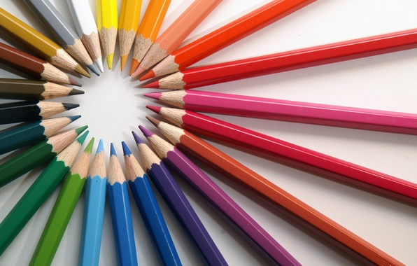 Picture color, paint, rainbow, pencils, white background