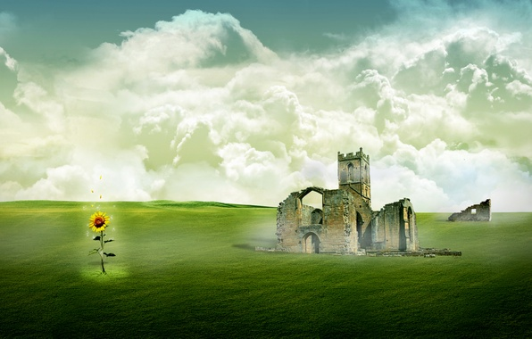 Picture field, the sky, grass, clouds, landscape, castle, sunflower, the ruins