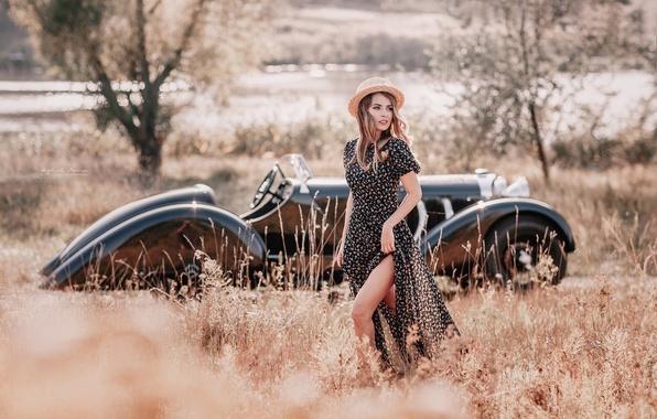Picture auto, girl, retro, hat, dress