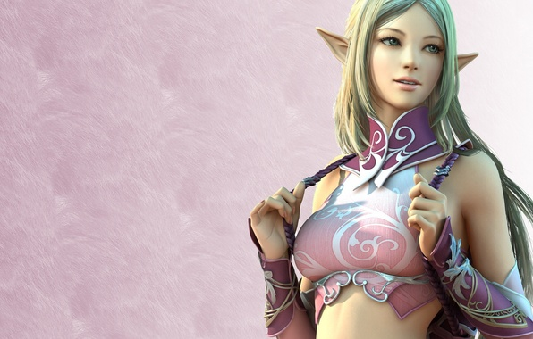 Picture girl, game, elf, girl, Lineage, line, game wallpapers, elf