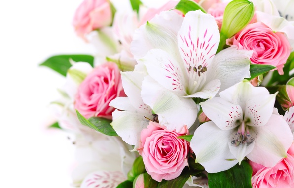 Picture flowers, roses, bouquet, pink, white, orchids