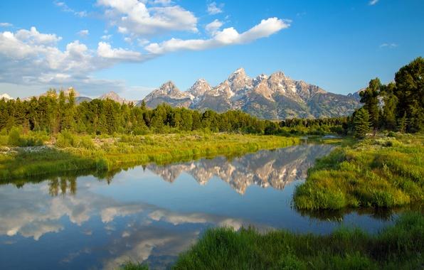 Picture mountains, lake, reflection, Wyoming, Wyoming, Grand Teton, Grand Teton National Park
