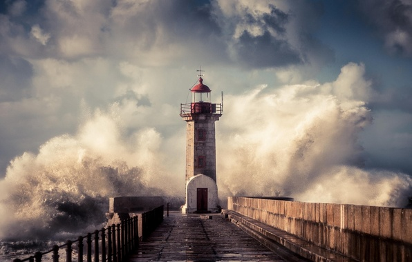 Picture wave, squirt, storm, lighthouse