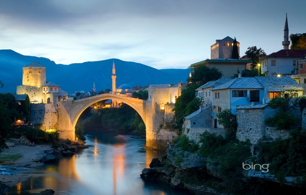 Picture the sky, landscape, sunset, mountains, bridge, lights, river, home, the minaret, Bosnia and Herzegovina, Mostar