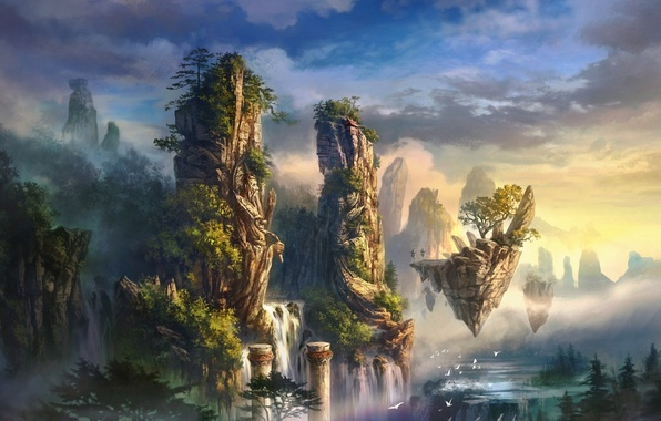 Picture clouds, trees, landscape, mountains, birds, fog, rocks, island, waterfall, art, columns