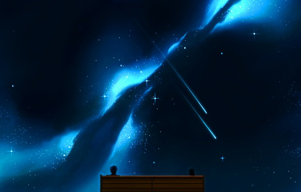 Picture the sky, girl, stars, bench, night, anime, art, guy, two, craft ghost