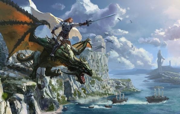 Picture sea, castle, rocks, dragon, ships, sword, warrior, art, rider, cloak