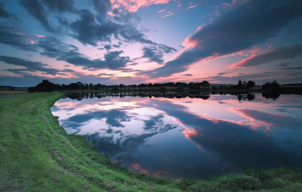 Picture the sky, grass, clouds, trees, sunset, lake, reflection, shore, England, the evening, UK