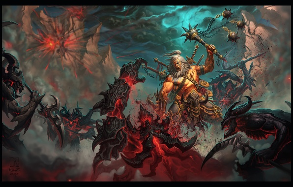 Picture darkness, warrior, battle, demons, blizzard, rpg, diablo 3, barbarian, barbarian, Reaper of Souls, Diablo 3: …