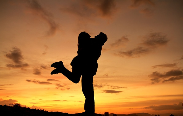 Picture the sky, girl, clouds, love, sunset, nature, background, widescreen, Wallpaper, mood, woman, feelings, silhouette, pair, …