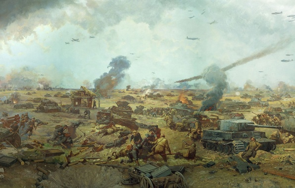 Picture field, weapons, fire, smoke, picture, War, battle, aircraft, soldiers, battle, ammunition, corpses, tanks, Russian, the …