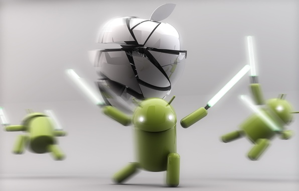 Picture Apple, Android, Green, White, Silver, Lightsaber