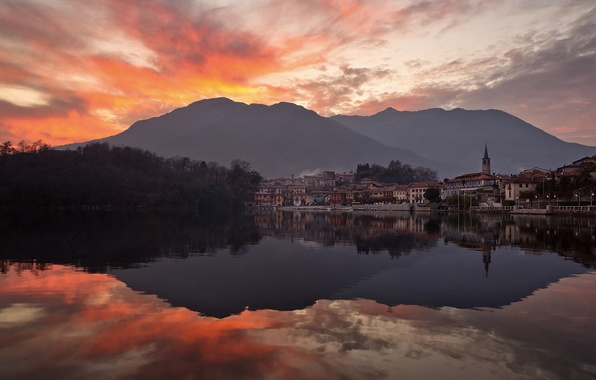 Picture the sky, sunset, mountains, the city, lake, the evening